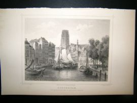 Holland Netherlands C1850's Antique Print. Rotterdam, Korenbeurs